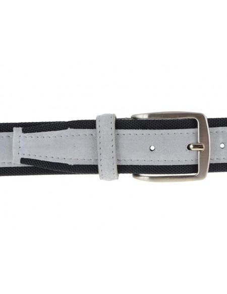 Cintura uomo tela e camoscio da 4 cm artigianale grigio chiaro e nero