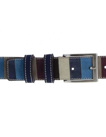 Cintura uomo in camoscio stile Gallo con righe multicolor toni del bordeaux