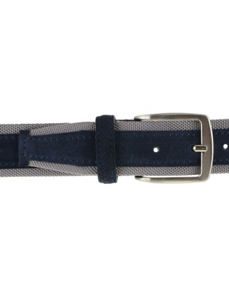Cintura uomo tela e camoscio da 4 cm artigianale blu e grigio