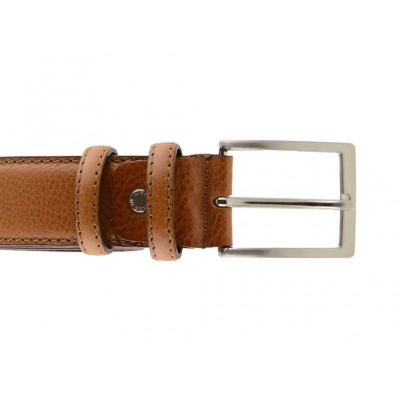 Cintura uomo elegante in pelle di vitello cuoio classica 3,5 cm
