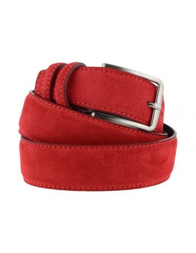 rivenditore all'ingrosso e8fbb 77ff5 Cintura da uomo rossa in camoscio artigianale