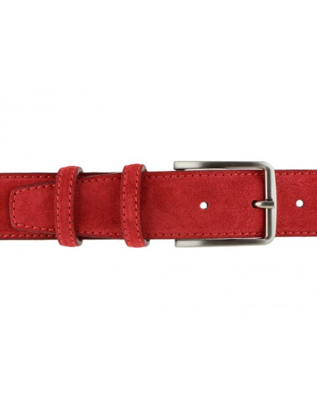 Cintura da uomo rossa in camoscio artigianale