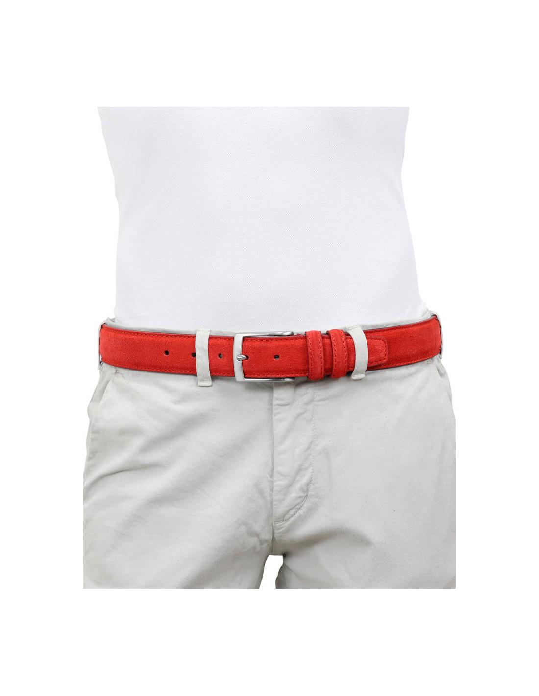 nuovo arrivo eef27 6d1ce Cintura uomo rossa in camoscio artigianale made in Italy