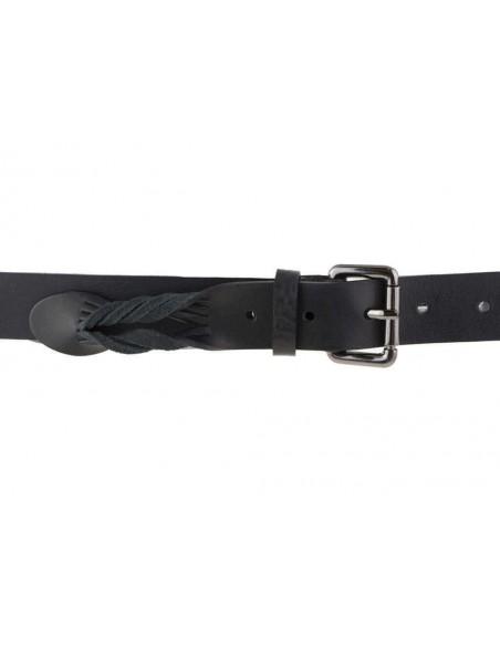 Cintura uomo donna in cuoio intrecciato nero con borchie