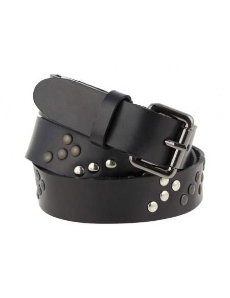 Cintura in cuoi nero uomo donna con borchie non allineate