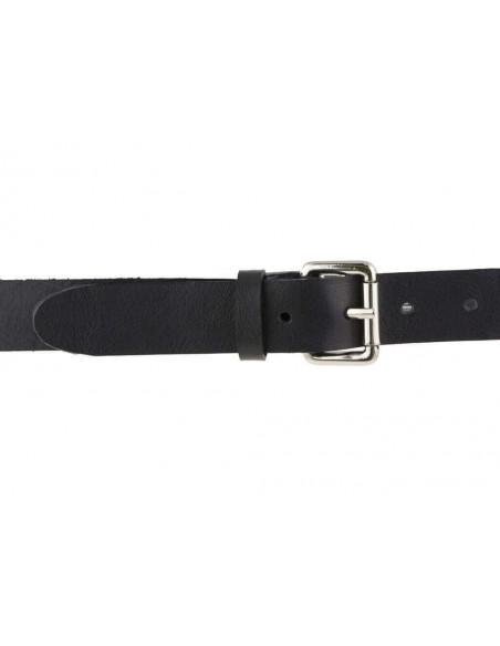 Cintura uomo donna cuoio nero con fibbia color argento