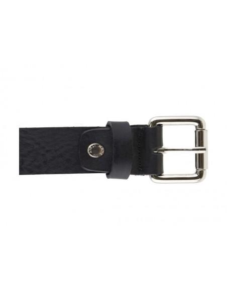 Cintura con borchie e risvolto in cuoio nero uomo con fibbia color argento