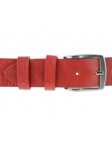 Cintura uomo in cuoio rosso da 4 cm