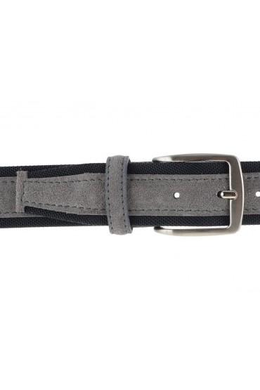 Cintura uomo tela e camoscio da 4 cm artigianale tortora e nero