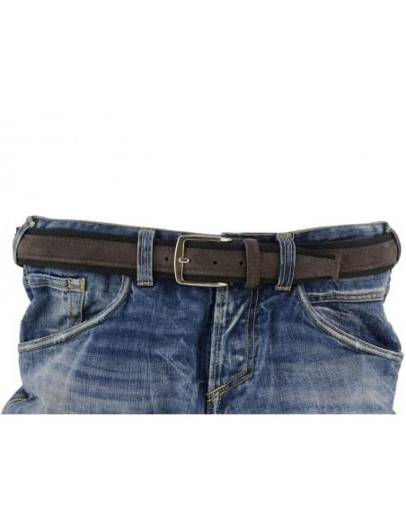 Cintura uomo tela e camoscio da 4 cm artigianale grigio scuro e nero