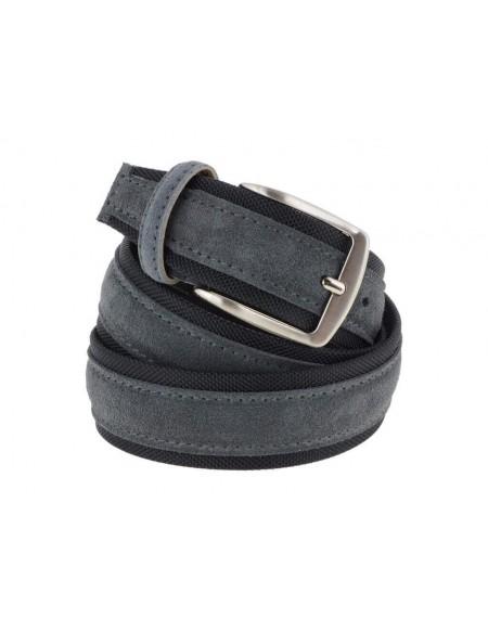 Cintura uomo tela e camoscio da 4 cm artigianale grigio e nero