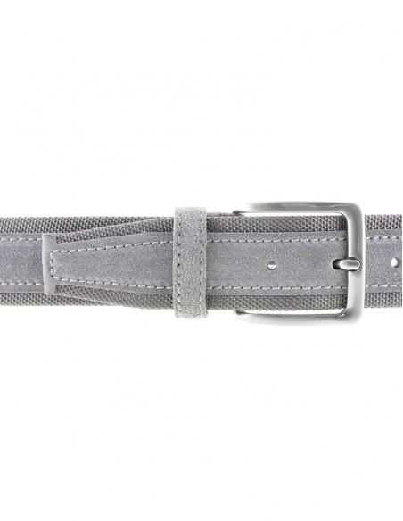 Cintura uomo tela e camoscio da 4 cm artigianale grigio
