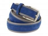 Cintura uomo tela e camoscio da 4 cm artigianale avion e grigio