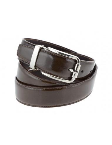 Cintura uomo in pelle di vitello spazzolato elegante marrone