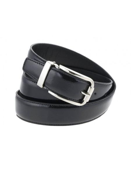 Cintura uomo in pelle di vitello spazzolato, elegante nera