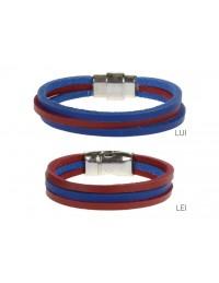Bracciale in cuoio bicolore rosso e blu