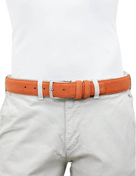 Cintura da uomo arancione in camoscio artigianale