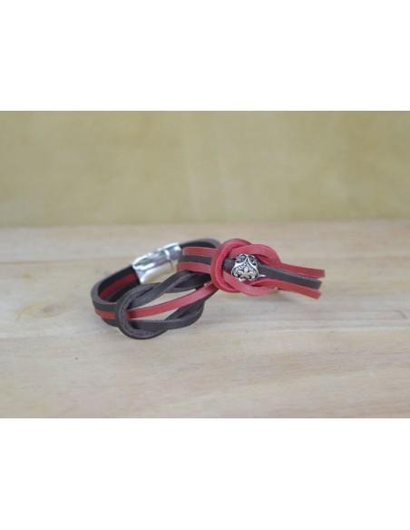 Bracciale in cuoio bicolore rosso e marrone con charm