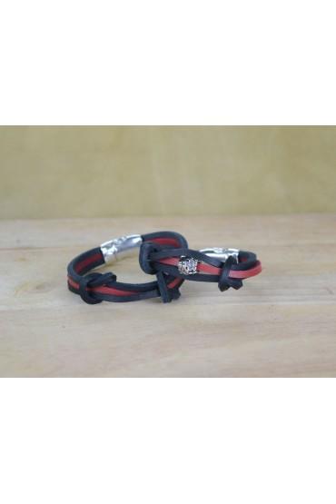 Bracciale in cuoio bicolore nero e rosso con charm