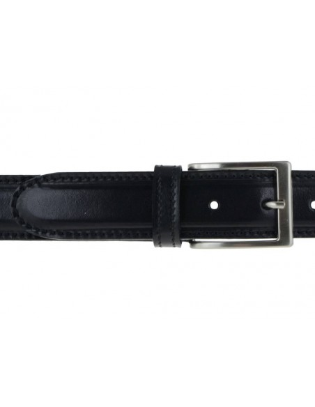 Cintura in pelle nera da uomo con impunture, artigianale