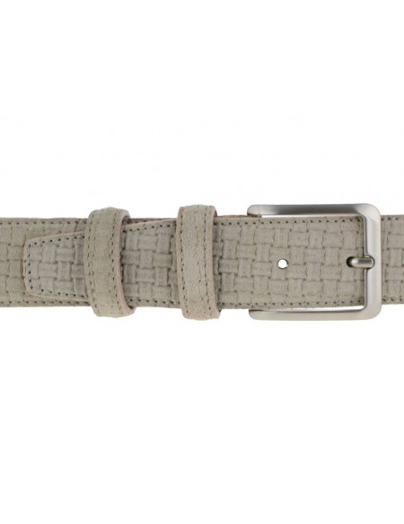 Cintura da uomo in camoscio artigianale beige