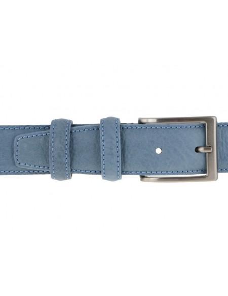 Cintura uomo in pelle stampa elefante azzurra