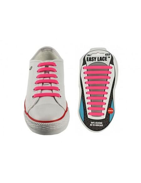 Lacci scarpe elastici in silicone fucsia