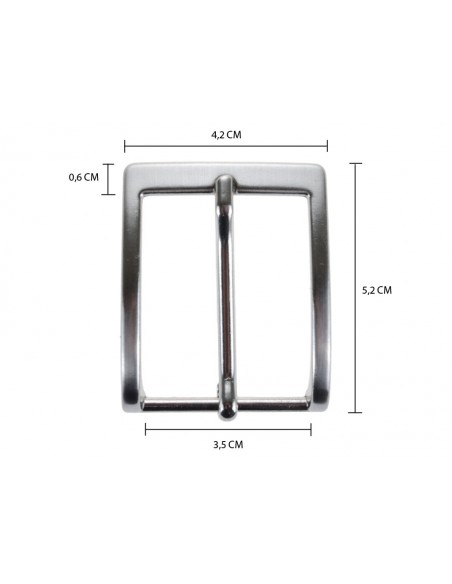 Fibbia anallergica nickel free per cinture 3,5 cm color argento