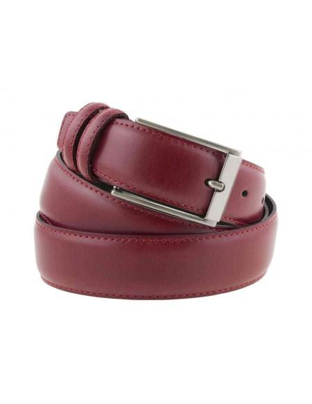 Cintura uomo elegante in pelle di vitello rosso classica 3,5 cm