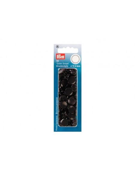 Bottoni a pressione in plastica marrone scuro Prym 30 pz