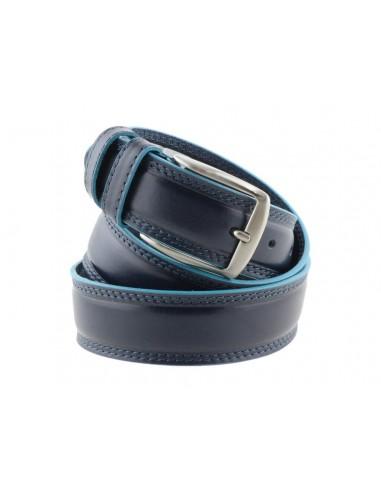 Cintura uomo stile Piquadro blu con bordo celeste