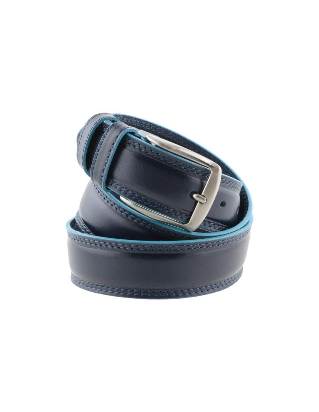 nuova collezione 46bf4 6cacc Cintura uomo in pelle blu con bordo celeste