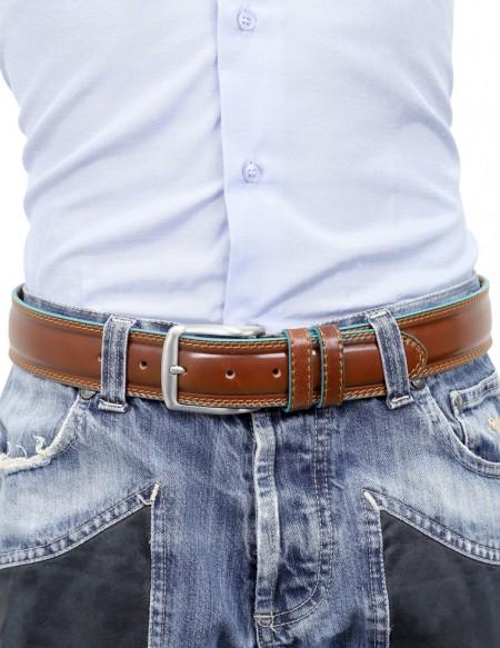 Cintura uomo stile Piquadro marrone con bordo celeste