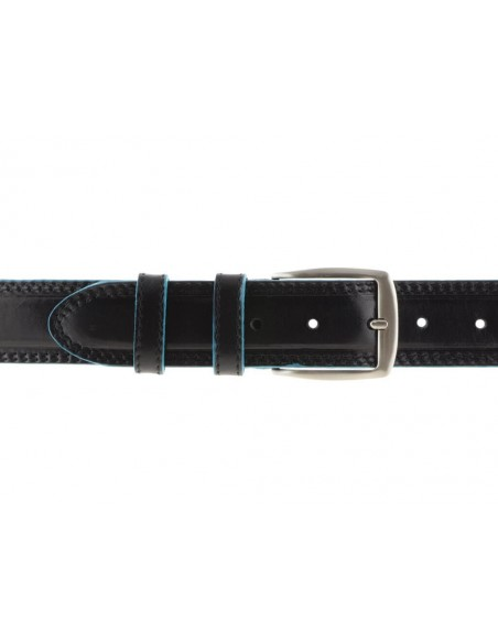Cintura uomo stile Piquadro nera con bordo celeste