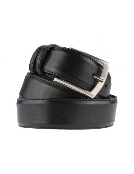 Cintura uomo elegante in pelle di vitello nera classica 3,5 cm