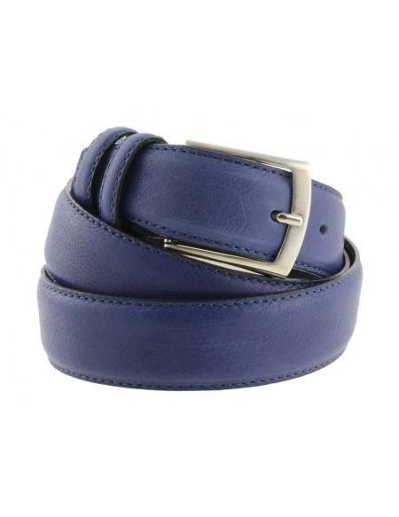 Cintura uomo elegante in pelle di vitello blu classica 3,5 cm