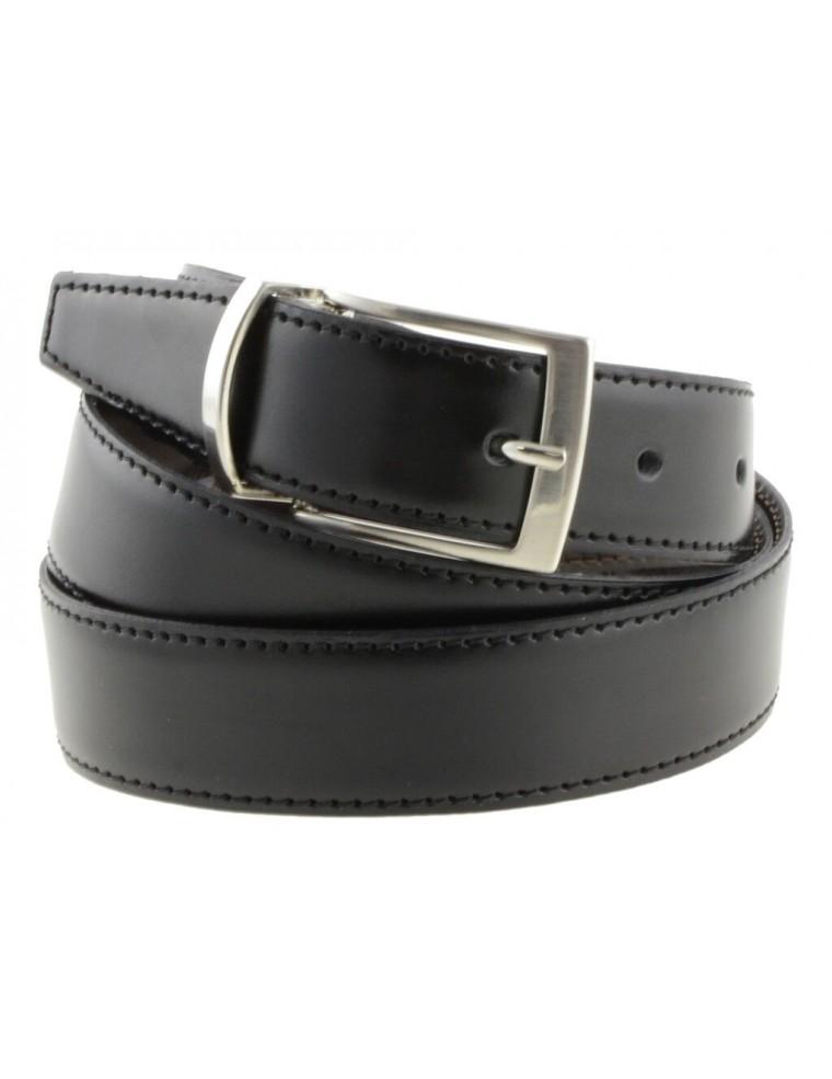 prima clienti cerca genuino sconto in vendita Cintura da uomo double face classica in pelle nera e testa di moro