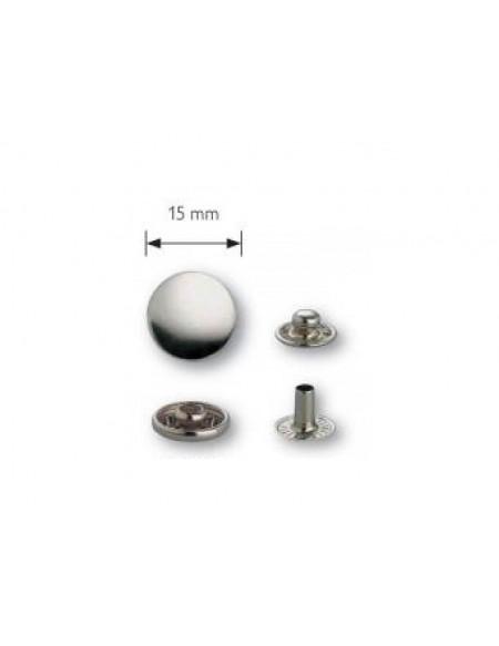 Bottoni a pressione in metallo argento Prym 15 mm