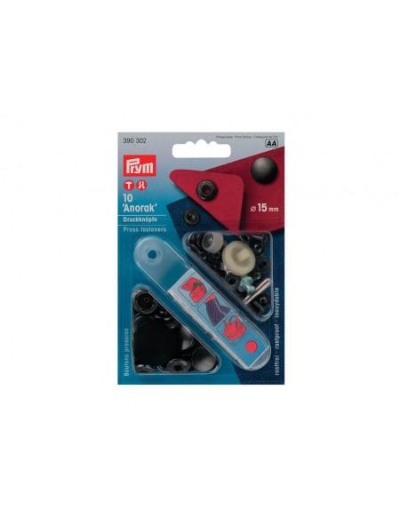 Bottoni a pressione in metallo nero Prym 15 mm