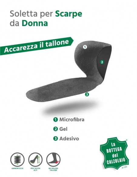 Salva tallone nero in gel con mezza soletta incorporata