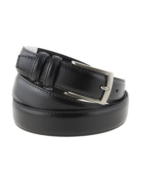 Cintura uomo in pelle nera classica elegante 3 cm artigianale