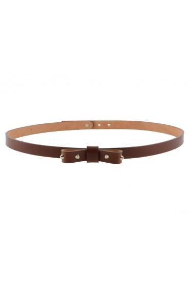 Cintura donna con fiocco e borchie in vero cuoio marrone