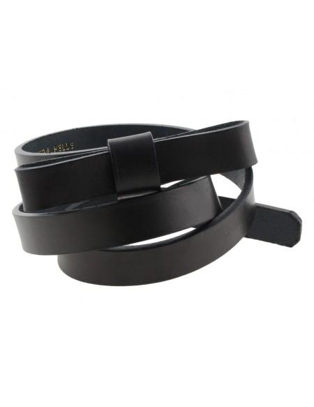 Cintura donna con fiocco in vero cuoio nero
