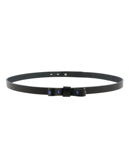 Cintura donna con fiocco e strass in vero cuoio nero