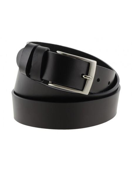 Cintura uomo donna in cuoio nero da 3,5 cm