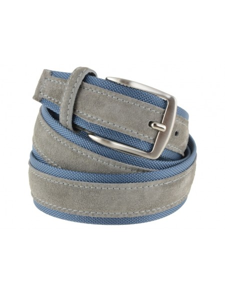 Cintura uomo tela e camoscio da 4 cm artigianale grigio chiaro e avion