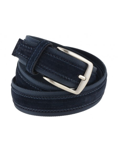 Cintura uomo tela e camoscio da 4 cm artigianale blu e blu