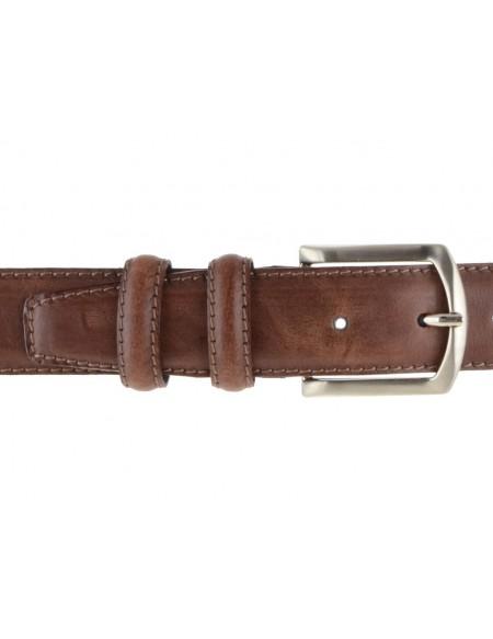 Cintura uomo in pelle di vitello marrone effetto vintage da 3,5 cm