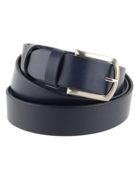 Cintura uomo in cuoio blu da 3,5 cm e bordo arrotondato