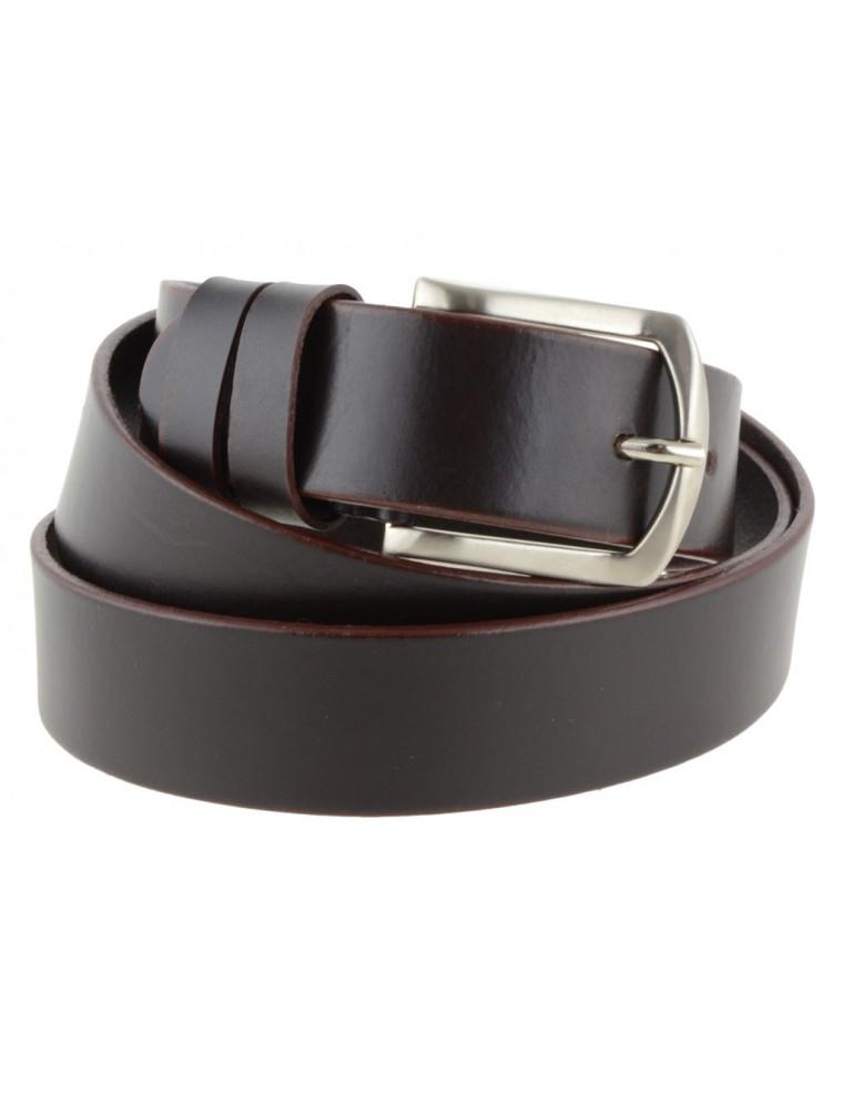 nuovo prodotto c5b1e 195c6 Cintura uomo in cuoio marrone da 3,5 cm e bordo arrotondato